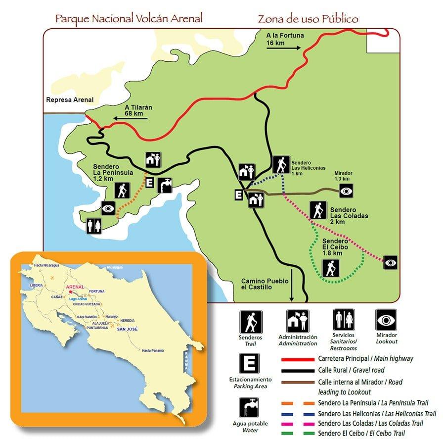Mapa de senders del Volcán Arenal