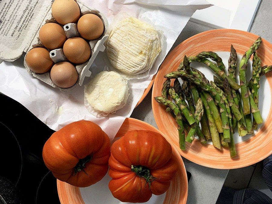 Productes comprats al Mercat de fruita i verdura de Carcasona