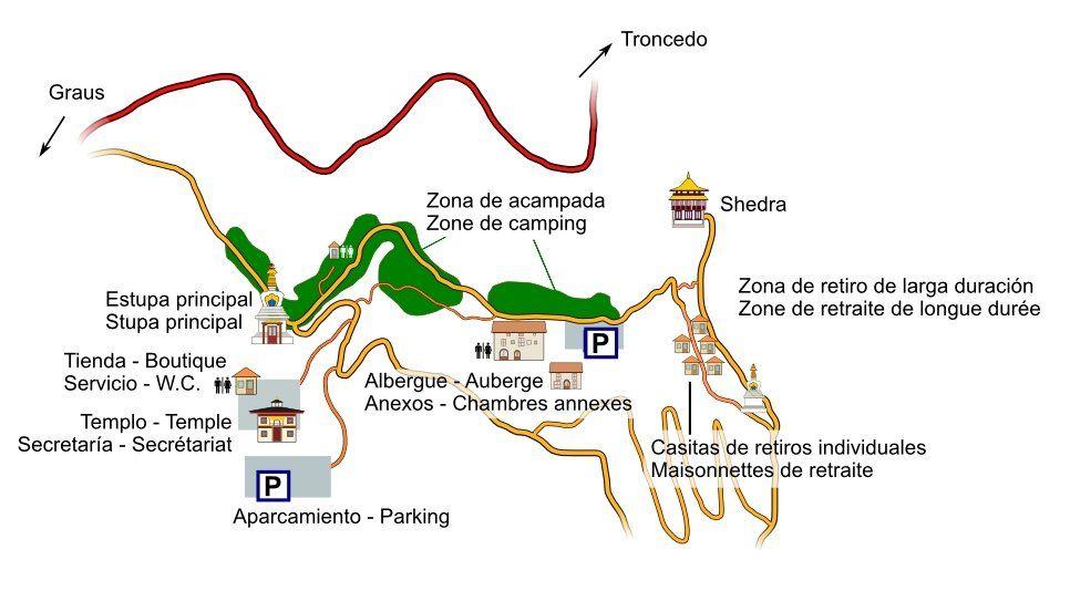 Mapa Centre Budista Dag Shang Kayü de Panillo