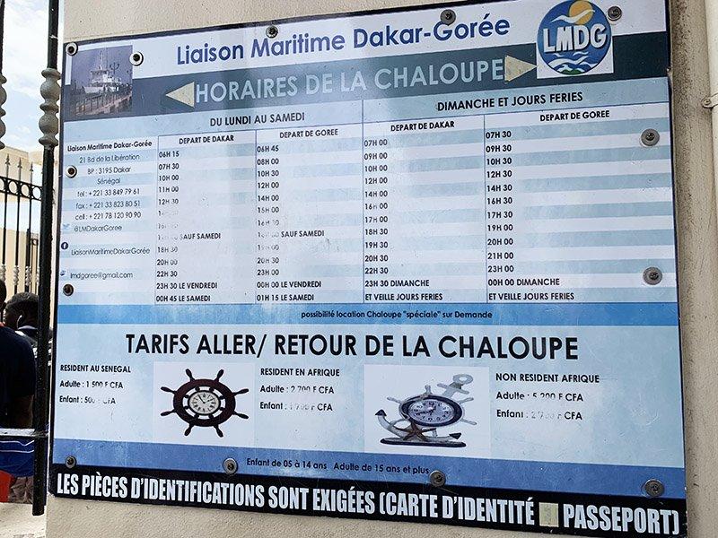 Preus ferry Dakar-Gorée